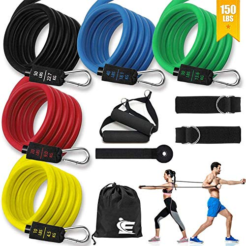 Resistance Bands Set 11 pcs  5 Stackable Exercise Bands with Door Anchor Handles Carry Bag Legs Ankle Straps Stackable up to 150 lbs Perfect for Fitness Training Home Workouts,Physical Therapy