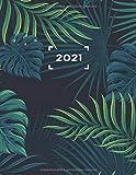 2021: XXL Kalender DIN A4 I 1 Seite pro Tag + Weitere Extras I 400 Seiten I edition Natur Palmblatt Grün