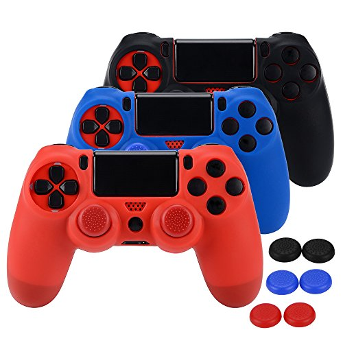 ASIV Silicona Fundas Protectores para Mando PS4 x3 (negro + rojo + azul) + pulgar agarre thumb grip x 6