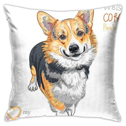 New-WWorld-Shop Sketch Dog Pembroke Welsh Corgi Smiling Pillowcase,Hidden Zip Pillowcase