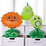 Yasdf 3Pcs Plants Vs Zombies Peluches 30Cm, PVZ Plants Vs Zombies 2 Figurine Pea Girasol Melon Muñec...