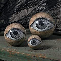 They're super lightweight and can be mixed in with any Halloween decorations. Each orb has an eye on the front and eye on the back, so the décor will be rockin' no matter where the viewer looks. Material: Styrofoam core in high-gloss finished plastic...
