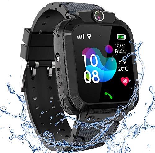 GPS Smartwatch Impermeabile per Ragazzi Ragazze, Orologio Intelligente Telefono con GPS Locator Chat SOS Vocale Camera Math Game Anti-lost Bambini Bracciale Regalo Compleanno per iOS Android,GPS Nero