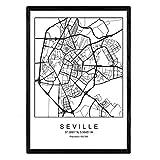 Nacnic Lámina Mapa de la Ciudad Sevilla Estilo nordico en Blanco y...