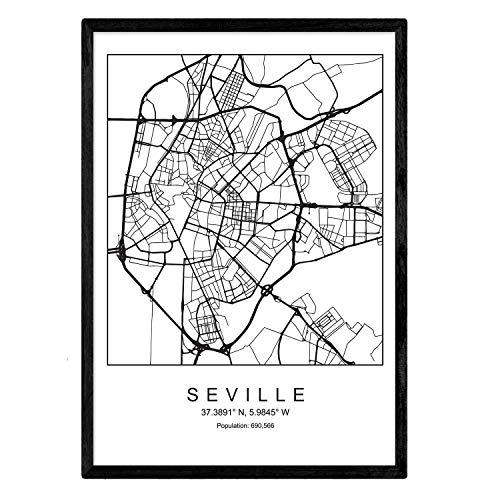 Nacnic Lámina Mapa de la Ciudad Sevilla Estilo nordico en Blanco y Negro. Poster tamaño A3 Sin Marco Impreso Papel 250 gr. Cuadros, láminas y Posters para Salon y Dormitorio