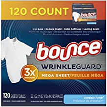 Bounce WrinkleGuard Mega Dryer Sheets, Fabric Softener and Wrinkle Releaser Sheets, Outdoor Fresh Scent, 120 count