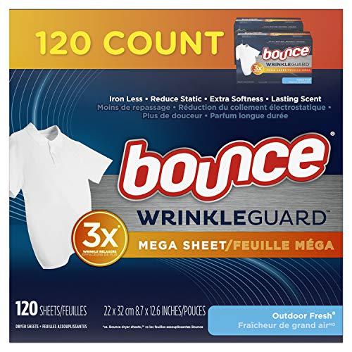 Bounce Wrinkle Guard Mega Secadora de hojas, suavizante de tela y antiarrugas, aroma fresco al aire libre, 120 unidades (paquete de 2, 60 unidades cada uno)