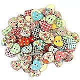 DIELUNY 100 Botones de Madera a Granel con 2 Agujeros en Forma de corazón botón Decorativo de Madera...