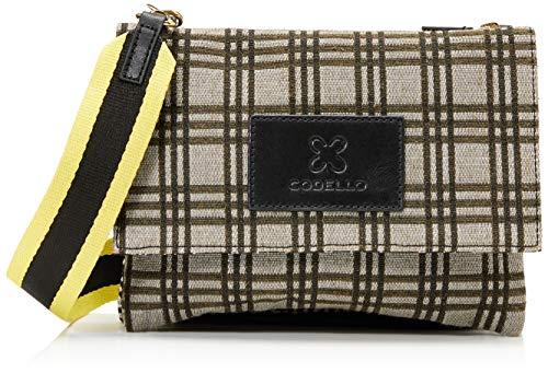 CODELLO Damen Handtasche   Umhängetasche   Schultertasche   aus Canvas  Karomuster Mode-Schal, Olive, Einheitsgröße