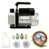 yaufey Single-Stage Rotary Vane Vacuum Pump 3CFM,1/4HP,220ml,5pa for HVAC/Auto AC Refrigerant Recharging,Wine Degassing(R134,R12,R22,R502),Medical with Manifold Gauge Set