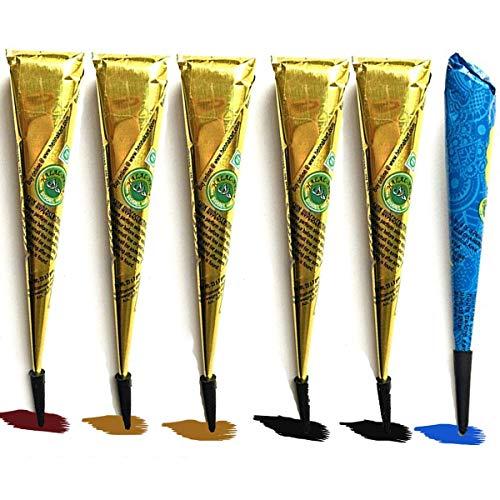 Janolia Satz von Tätowierung, Sicher Wasserdicht Tätowierung malen mit 4 Stück 3 farbe Einfügen Kegel, 24 Stück Klebe-Schablone, 1 Flasche(Schwarz, Braun)