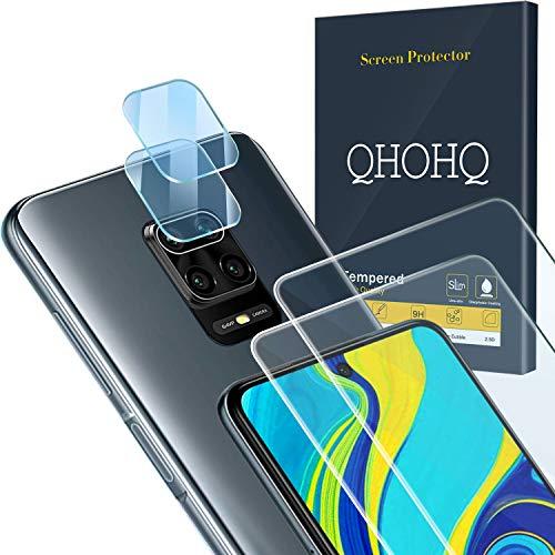 QHOHQ 2 Piezas Protector de Pantalla para Xiaomi Redmi Note 9S/Note 9 Pro/Poco M2 Pro con 2 Piezas Protector de Lente de...