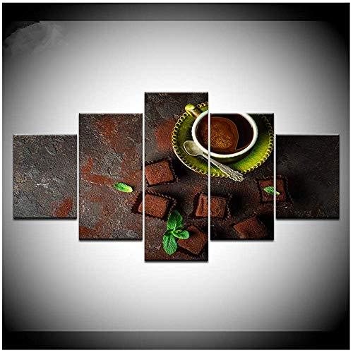 Arte de la pared Impresión en lienzo Imágenes 5 Piezas Hojas de café Postres Chocolates Pintura Decoración 40x60cmx2 40x80cmx2 40x100cmx1 Sin marco verde