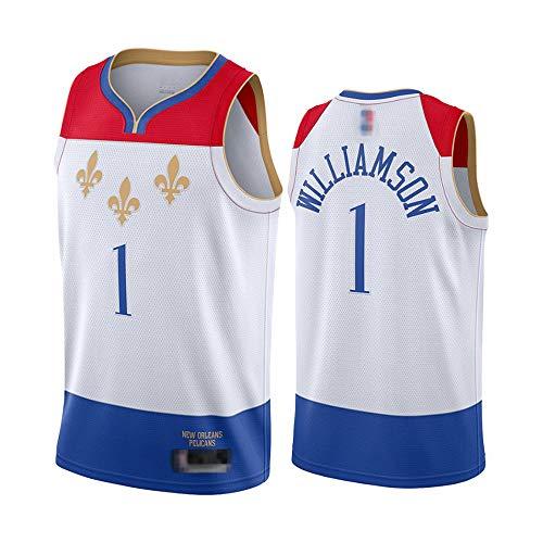 LYY Jerseys Men's, NBA New Orleans Pelicans # 1 Zion Williamson - Classic Basketball Sportswear Sports Sin Mangas Camisetas Y Camisetas Cómodas,Blanco,S(165~170CM)