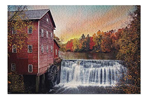 Old Red Mill & Waterfall with Fall Colors in Wisconsin (500 Piece Premium Jigsaw Puzzle for Adults and Family, 13x19)