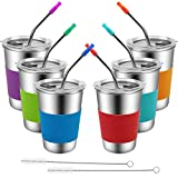Spill Proof Cups for Kids,6 Pack 16oz Stainless Steel Kids Cup with Straw and Lid,Unbreakable Tumbler Drinking Glasses, BPA-Free Metal Sippy Water Mug for Toddler, Children, Adult, Indoor, Outdoor