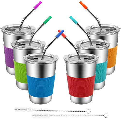 Kids Cup with Straws and Lids Spill Proof,6 Pack Stainless Steel Drinking Tumbler,Unbreakable Water Glasses,Eco-Friendly BPA-FreeMetal Sippy Mug for Toddler, Children, Adult, Indoor, Outdoor (16oz)