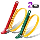Swpeet 2 Pack Multi-Purpose Adjustable Belt Strap Wrench 12'(300mm) and 7.8'(200mm) Steel Handle Adjustable Strap Filter Opener Wrench for Opening Filter, Pipe and Tin - Red and Green