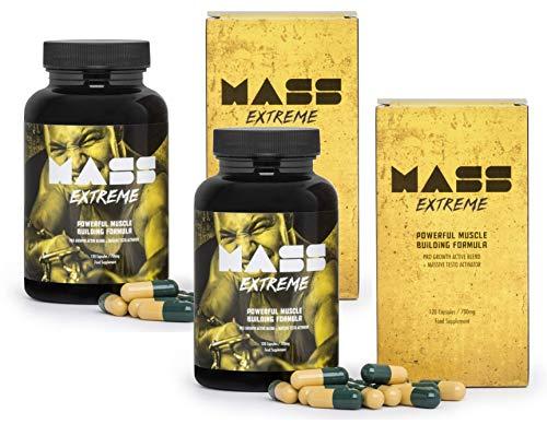 MASS EXTREME Premium (2x) - Il supplemento per la costruzione della massa muscolare, lo sviluppo spettacolare della forma del corpo, ideale per ogni uomo! 120 capsule / 700 mg