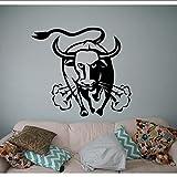 Angry Bull Buffalo Vinyl Fotomural Fotomural Serie Animal Etiqueta engomada de la pared Diseño de arte para el hogar Dormitorio decoración decoración creativa mural 56 * 56 cm