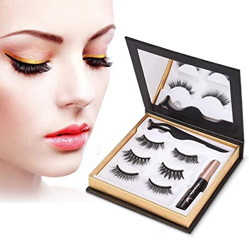 ZRSZ Magnetic Eyelashes Eyeliner Set Naturel 3D Réutilisable 5 Aimants Faux Cils Magnétiques Imperméable Magnétique Eyeliner 5Ml 3 Paires