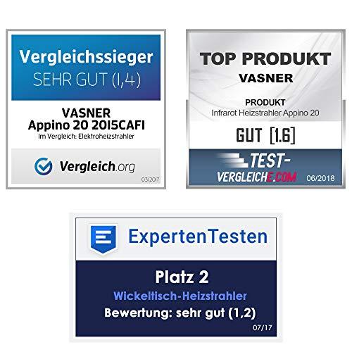 VASNER Infrarot-Heizstrahler Appino 20 weiß, App Steuerung, Fernbedienung, 2000 Watt, Terrassenstrahler elektrisch, Infrarotstrahler Terrasse außen, Bluetooth - 2
