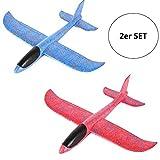 2er Set Styroporflieger XXL - Flugzeug zum Werfen 43cm Segelflugzeug Flieger Modell Wurf Glider...