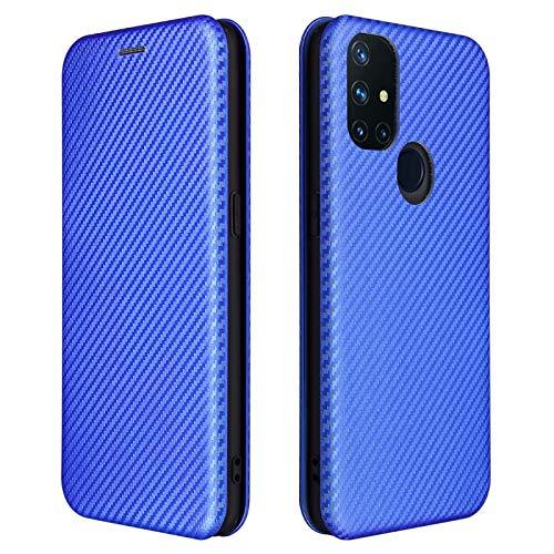 TOPOFU Leder Folio Hülle für OnePlus Nord N10 5G, Premium Kohlefaser Flip Wallet Tasche mit Kartenfächern, Magnetic, Standfunktion, Lederhülle Handyhülle Schutzhülle (Blau)