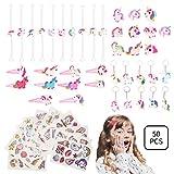 Colmanda Licorne Kit, 50pcs Licorne Fournitures de Fête Bracelets de Licorne Bagues de Licorne Autocollant Licorne Porte-clés Licorne Pince à Cheveux de Licorne pour Filles Enfants Décoration de Fête