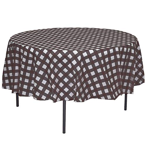 Exquisite 12 Pack Premium Round Plastic Checkered BBQ Tablecloth - Gingham Checkerboard Disposable Plastic Tablecloth 84 inch. Round (Black)