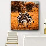 wZUN Wald Zebra Ölgemälde Tier Wandkunst Leinwand Poster