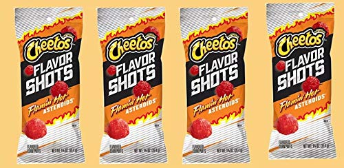 FLAMIN HOT ASTEROID POPPERS 4 BAGS (Flavored Corn Puffs) 1 Ounce Bags