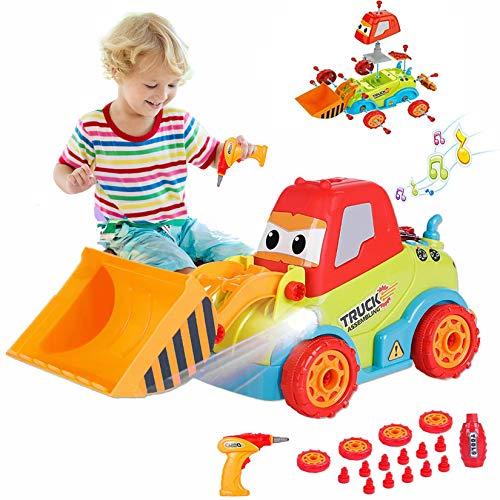 LUKAT Juguetes para niños de 3 años, Juguetes para Desmontar, camión, Excavadora de construcción de Bricolaje con Herramienta de Taladro / música / Luces, Coche de Juguete Stem para 3 4 5 6 años