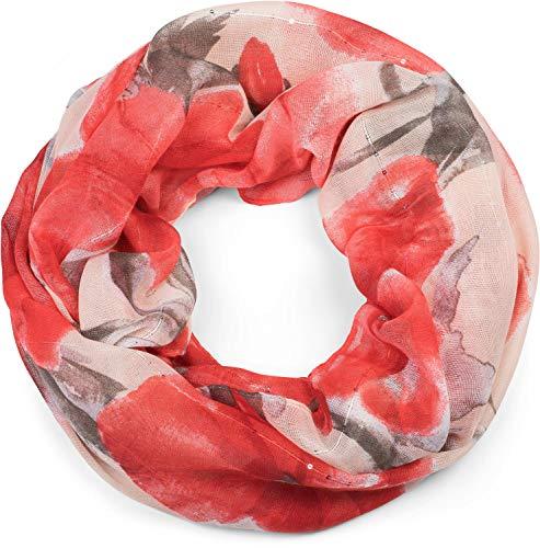 styleBREAKER fular de tubo de mujer con motivo abstracto de amapolas e hilos con lentejuelas, fular de tubo, pañuelo 01016187, color:Rojo-Gris