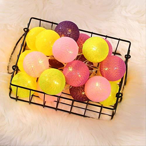 CFLFDC Kandelaar, led, katoenen lijn, lamp, ketting, kleine kleur, voor meisjes, hart, kinderen, bruiloft, Kerstmis, decoratie, citroen, geel, 3 m, 20 flitsbox, licht