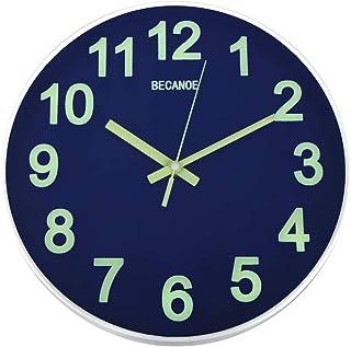 BECANOE 壁掛け時計 夜光 連続秒針 サイレント ウォールクロック 掛け時計 インテリア サファイアブルー