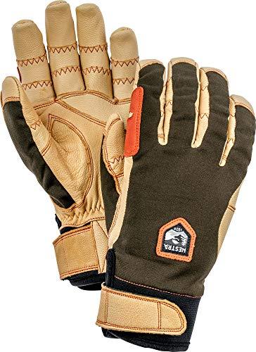 Hestra Outdoor Work Gloves: Ergo Grip Riding Cold Weather Gloves, Dark Forest/Natural Brown, 9