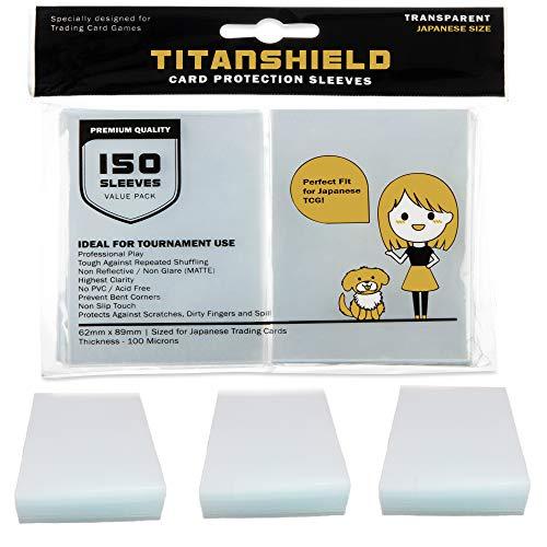 TitanShield (150 manicotti/trasparente) Piccole dimensioni giapponesi per carte da gioco Yu-Gi-Oh, Cardfight!! Vanguard & More