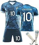 YTTde Ensemble De Maillot Extérieur Maradona, No. 10 Argentine Retro 2020 Costume De Roi Commémoratif pour Le Football, Cadeau, Collection, avec 1 Paire De Chaussettes,L