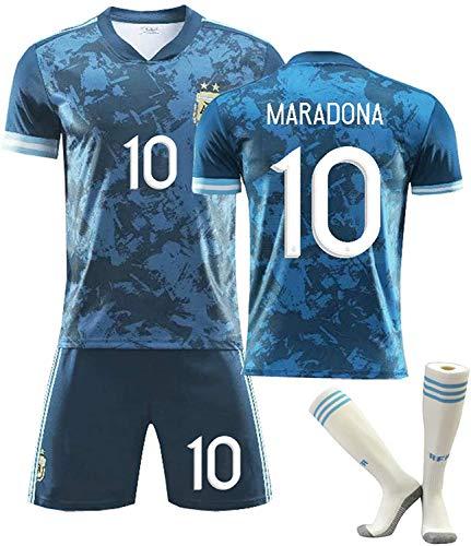YTTde Maradona Away Jersey Set para Niños, No. 10 Traje Rey Argentina Conmemorativo Retro 2020 para Fútbol, Regalo, Colección, con 1 Par De Calcetines,24