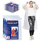 50 Pack Clear Transparent Bulk Poncho Raincoats, Plastic, Disposable and Reusable, Wholesale Ponchos