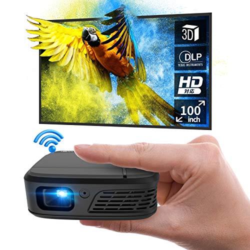 ミニ プロジェクター 小型 DLP投影方式 LED光源 WiFi 3300 ルーメン 1080PフルHD対応 1280*720解像度 自動...