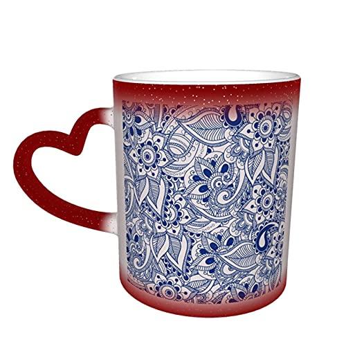 MENYUAN Taza de café patrón mágico sensible al calor color cambiante taza en el cielo tazas de café regalos personalizados para los amantes de la familia amigos