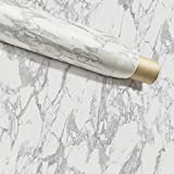 """Instant Granite Counter Top Self-Adhesive Vinyl Laminate Sheets, Great As Kitchen, Wall, Bathroom, Cabinet, Shelf Covers (36' x 216"""" Inches, Faux Marble in Grey/Gray)"""