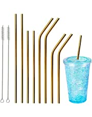 """OnseToday Reusable Straws 10Pcs Drinking Metal Straws 8.5"""" & 10.5"""" Stainless Steel Straws for 20oz/30oz with Cleaning Brush"""