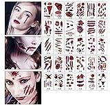infinitoo Halloween Temporary Tattoos Scars 30 Sheets,180+ Pcs Scary Makeup Vampire Bite...
