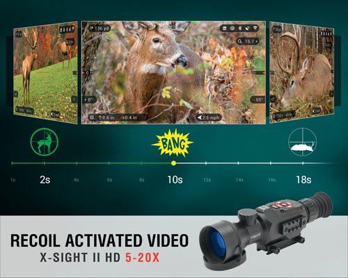ATN X-Sight II HD 5-20 Smart Day/Night Rifle Scope w/1080p Video, Ballistic Calculator, Rangefinder, WiFi, E-Compass, GPS, Barometer, IOS & Android Apps