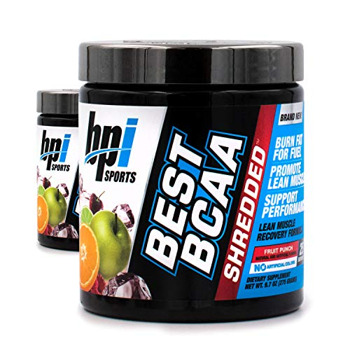 BPI Sports Best BCAA Shredded Fruit Punch (2 Pack) Caffeine Free Thermogenic Recovery Formula for Lean Muscle Growth (25 Servings)