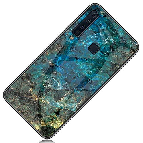 Yoodi Capa para Samsung Galaxy A9 (2018), design de mármore, capa traseira de vidro temperado, híbrida, com bordas flexíveis, antirriscos, para Samsung Galaxy A9 (2018) - Esmeralda