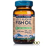 Wild Alaskan Omega-3 Fish Oil - Easy Swallow Minis 2X Double Strength 630mg EPA + DHA Natural Supplement 120 Mini Softgels
